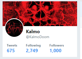Kalmo has 1000 Twitter followers