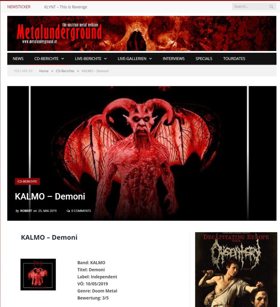 Demoni reviewed by Metal Underground